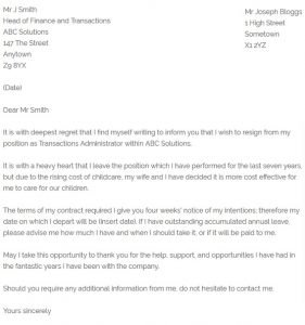 Resignation Letter To Take Care Of Child from www.resignletter.org