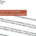 Due To Commute Resignation Letter Example