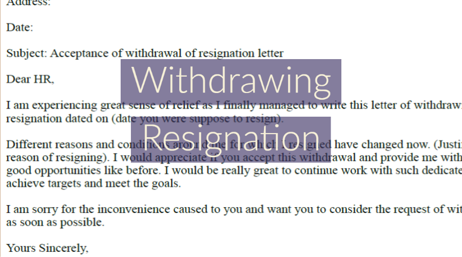 Withdrawing Resignation Letter Example