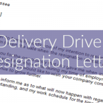Delivery Driver Resignation Letter Example