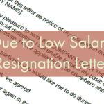 due to low salary resignation letter example