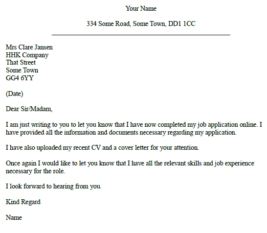 Job Application Follow Up Letter Example