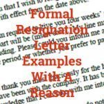 Formal Resignation Letter Examples With A Reason