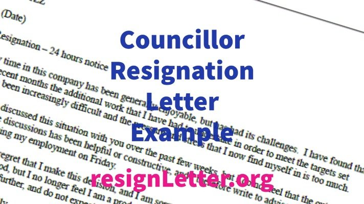 Councillor Resignation Letter Example
