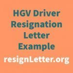 HGV Driver Resignation Letter Example