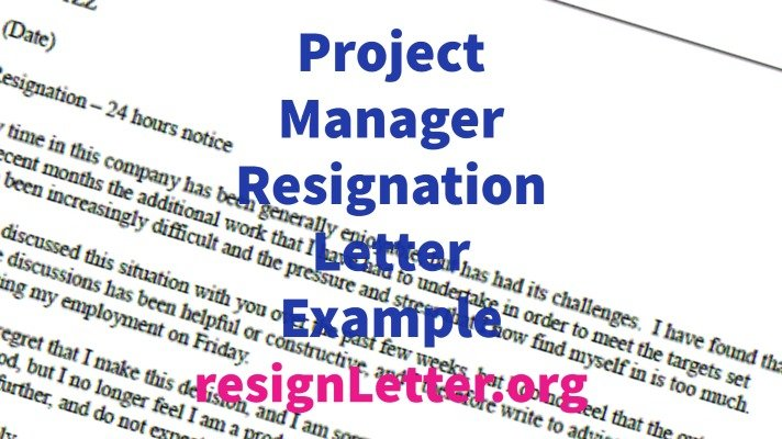 Project Manager Resignation Letter Example